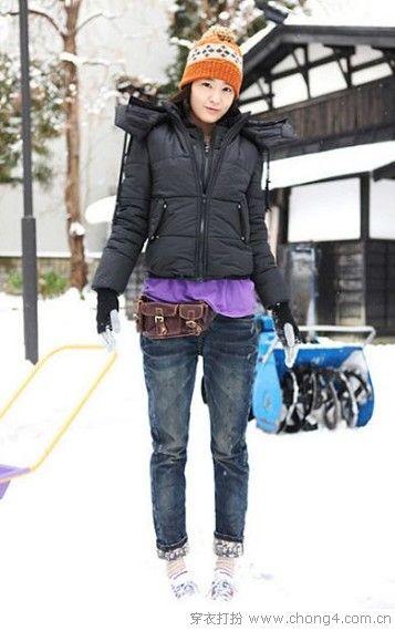 冬天牛仔裤搭配示范