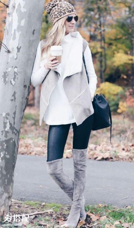 毛衣+皮裤